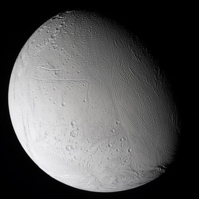 Enceladus is listed (or ranked) 10 on the list Places in the Solar System Where Your Death Would Be Most Horrific
