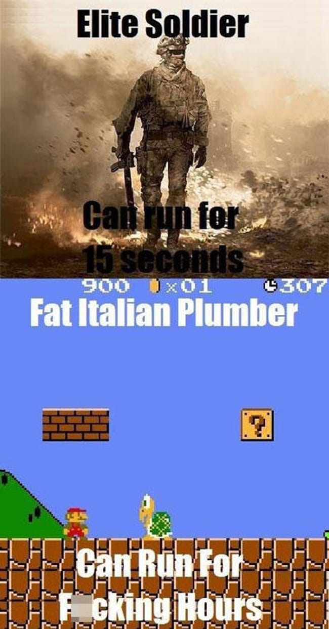 Italian Blood Runs Runs with M... is listed (or ranked) 7 on the list 101 Jokes Only Gamers Will Understand