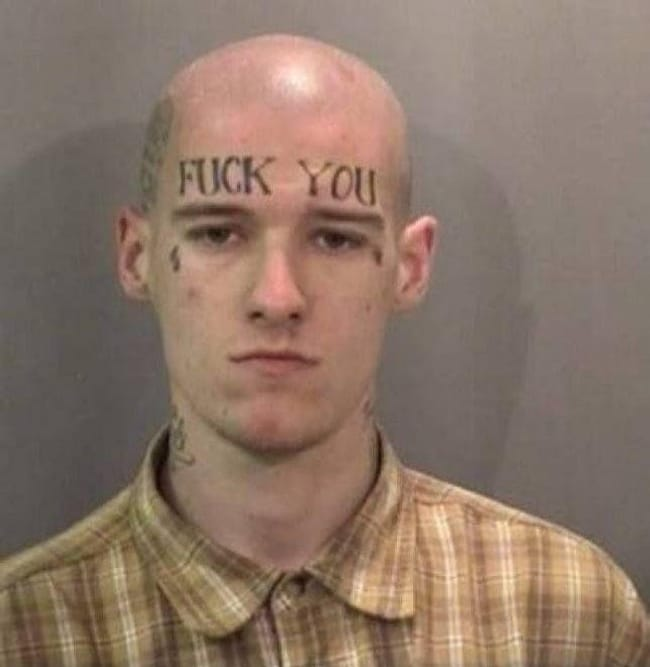 Fuck You(r Chances Of Employme... is listed (or ranked) 3 on the list The Most Out-Of-Control Face Tattoos Captured By The Mugshot Camera