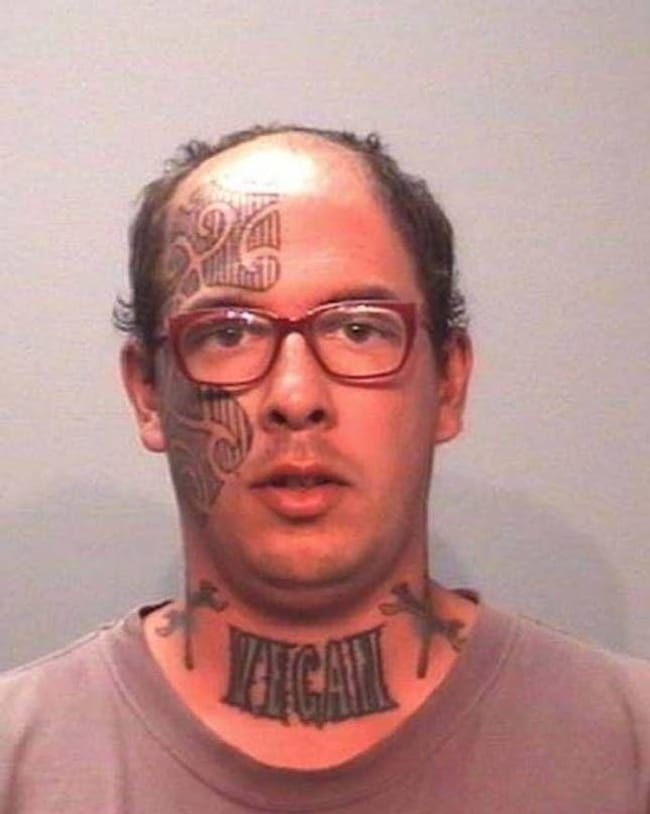 Less Meat, More Problems is listed (or ranked) 5 on the list The Most Out-Of-Control Face Tattoos Captured By The Mugshot Camera