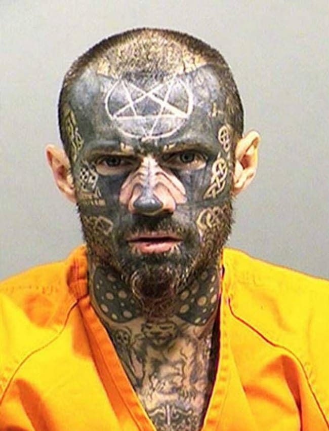The Devil's Advocate is listed (or ranked) 16 on the list The Most Out-Of-Control Face Tattoos Captured By The Mugshot Camera