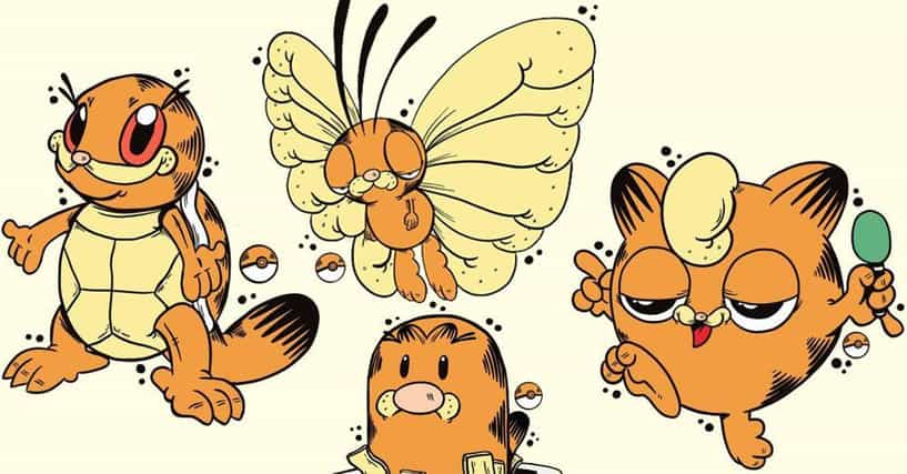 30 Hilarious Mashup Drawings Of Pokemon Drawn As Garfield