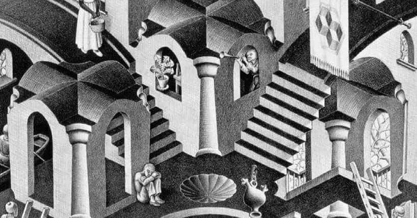 the life and works of m c escher The strange worlds of m c escher - i try in my prints to testify that we live in a beautiful and orderly world, not in a chaos without norms, even though that is how.