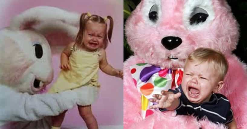 funny pictures of kids crying with the easter bunny