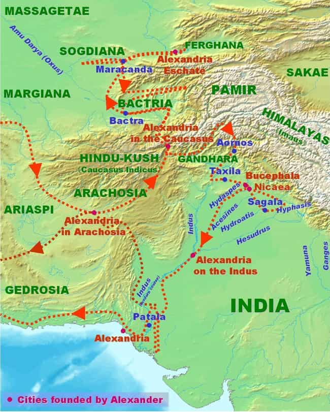 Indian campaign of Alexa... is listed (or ranked) 2 on the list List Of Wars of Alexander the Great Battles