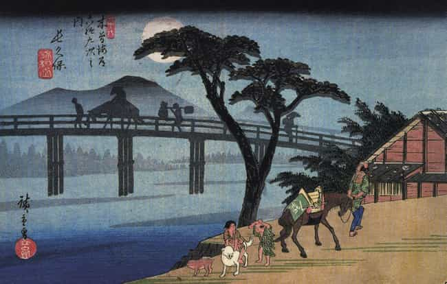Man on Horseback Crossing a Br... is listed (or ranked) 3 on the list List of Famous Utagawa Hiroshige Artwork