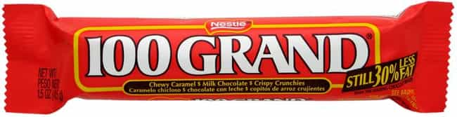 100 Grand Bar is listed (or ranked) 1 on the list Popular Candy Sold in United States Of America