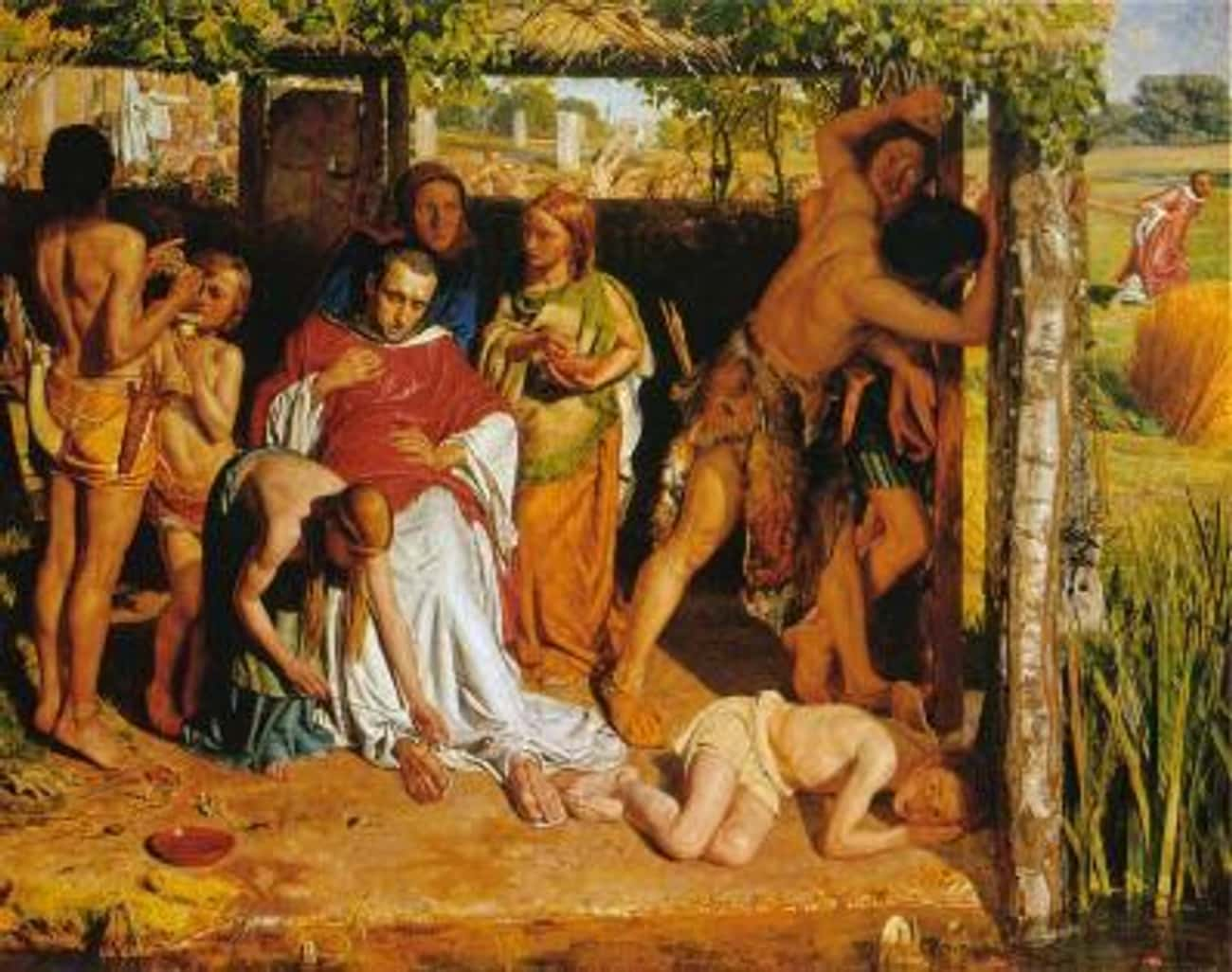 A Converted British Family Sheltering a Christian Missionary from the Persecution of the Druids