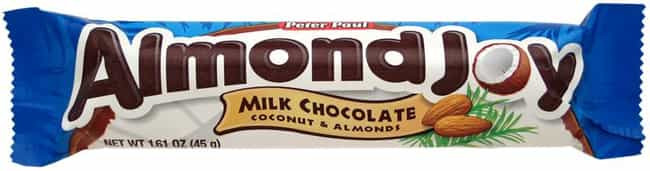 Almond Joy is listed (or ranked) 4 on the list Popular Candy Sold in United States Of America