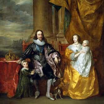 Charles I and His Wife Henrietta Maria with Their Eldest Children Charles and James