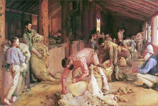 Shearing the Rams is listed (or ranked) 4 on the list List of Famous Tom Roberts Artwork