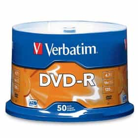 Verbatim 95101 4.7 GB up to 16x Branded Recordable Disc AZO DVD-R 50-Disc Spindle