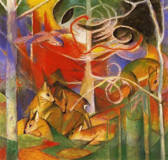 Deer in the Forest is listed (or ranked) 1 on the list Famous Animal Paintings by Franz Marc
