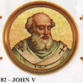 Pope John V is listed (or ranked) 18 on the list Complete List of 7th Century Popes