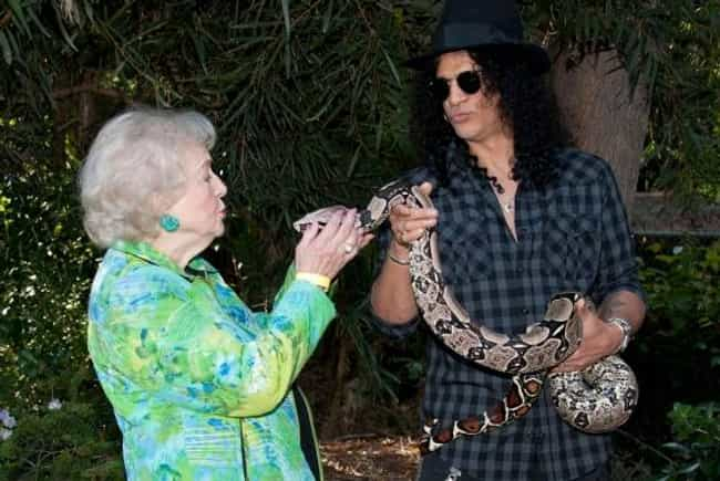 Slash is listed (or ranked) 3 on the list 14 Celebrities Who Have Pet Snakes