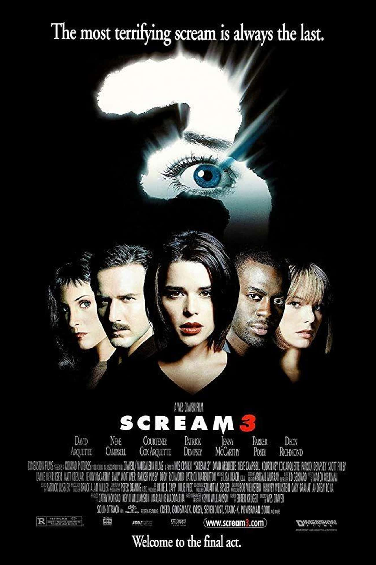 Scream 3 is listed (or ranked) 3 on the list Every Movie (and Series) in the Scream Franchise, Ranked