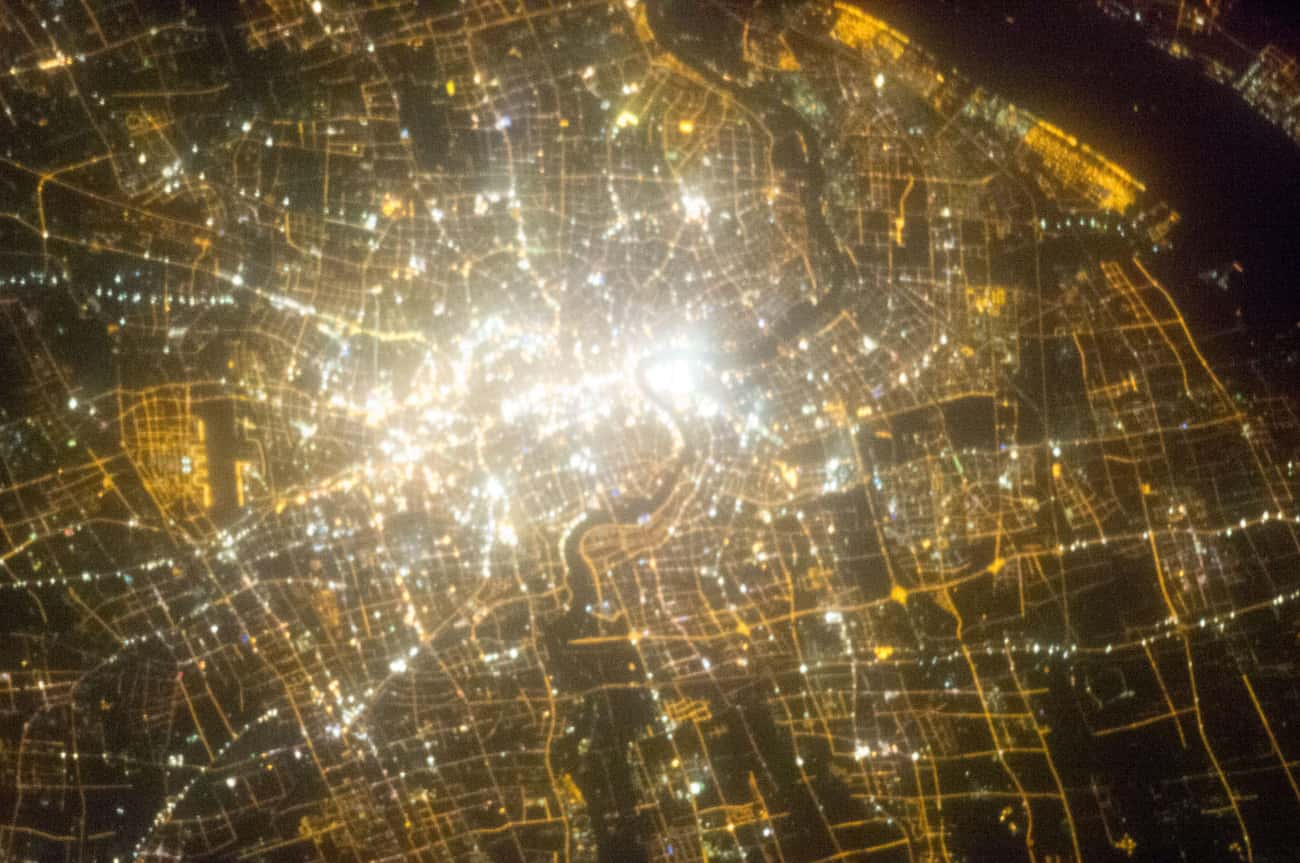 Shanghai, Challenging the Sun  is listed (or ranked) 4 on the list Cool Aerial Photos of Cities at Night