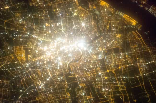 Shanghai is listed (or ranked) 4 on the list Cool Aerial Photos of Cities at Night