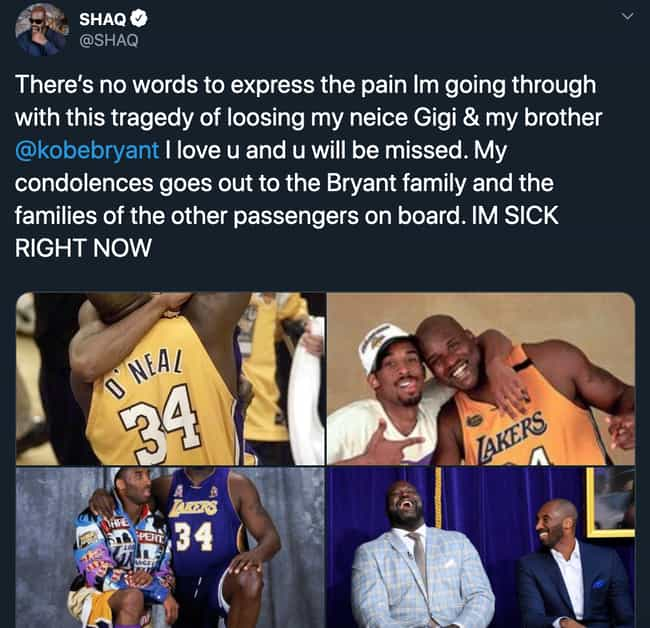 Shaquille O'Neal is listed (or ranked) 2 on the list Heartbroken Athletes React To Kobe Bryant's Death