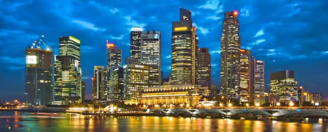 Singapore is listed (or ranked) 4 on the list The Most Beautiful Skylines in the World