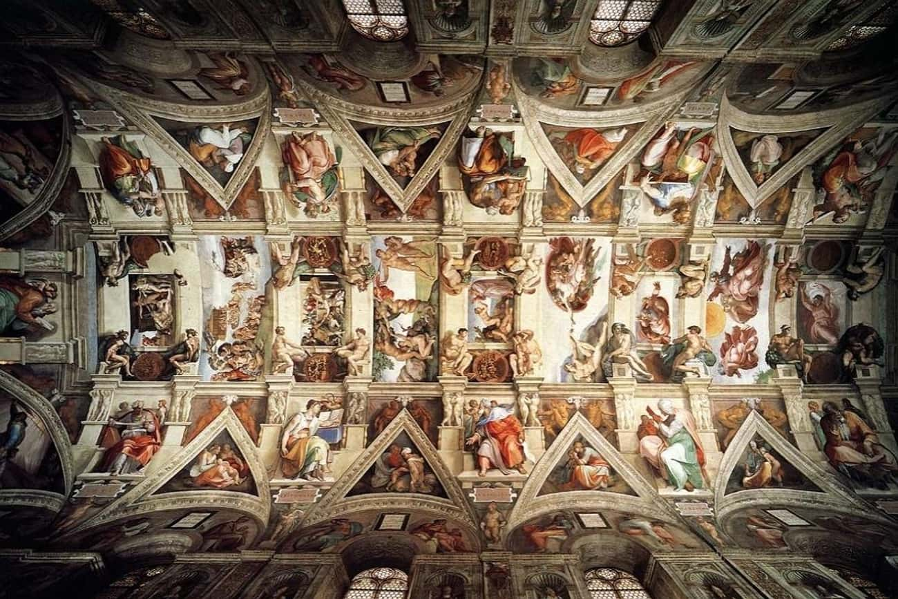 Sistine Chapel ceiling is listed (or ranked) 4 on the list The Most Amazing Pieces of Artwork Ever Made