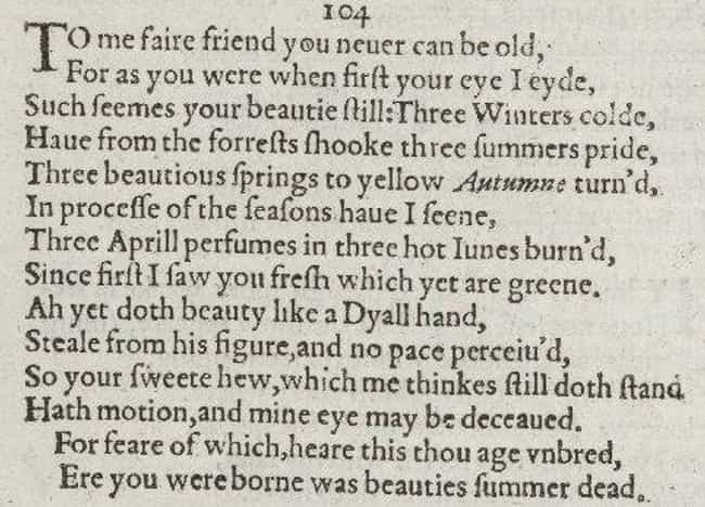 Sonnet 104 is listed (or ranked) 6 on the list The Best of William Shakespeare's Sonnets
