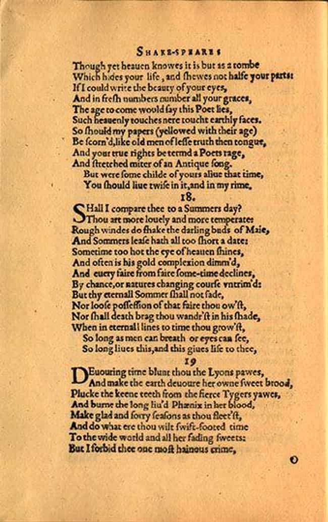 Shall I compare thee to ... is listed (or ranked) 1 on the list The Best of William Shakespeare's Sonnets