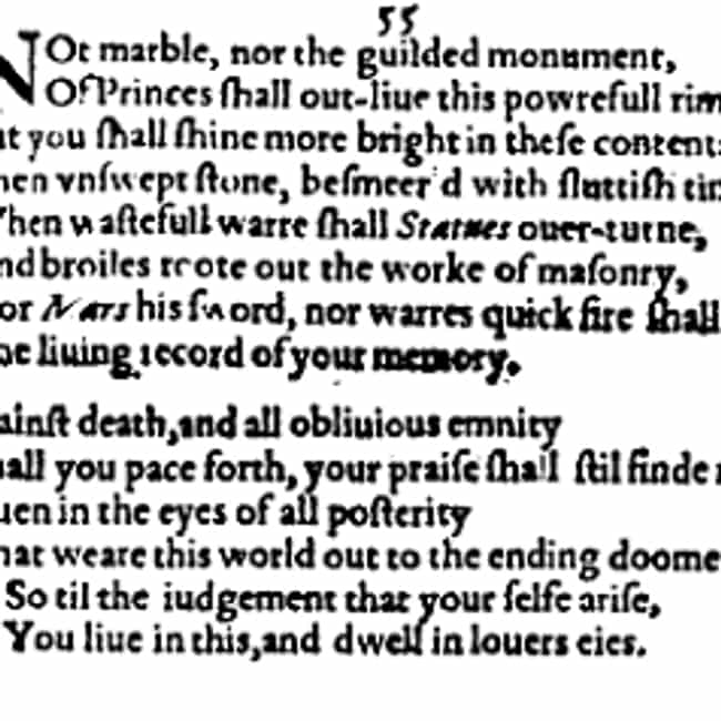 Sonnet 55 is listed (or ranked) 7 on the list The Best of William Shakespeare's Sonnets