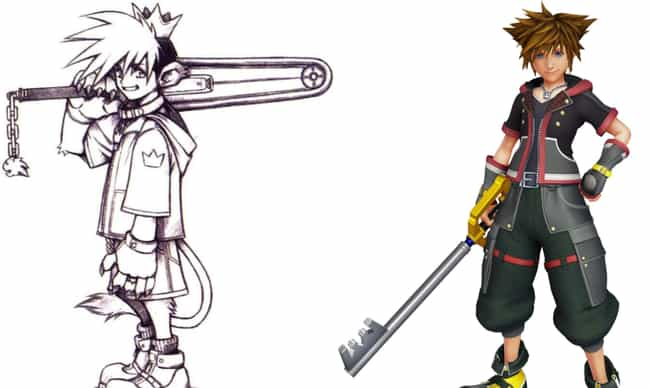 Sora is listed (or ranked) 3 on the list 15 Famous Video Game Character That Were Completely Different In The Beginning