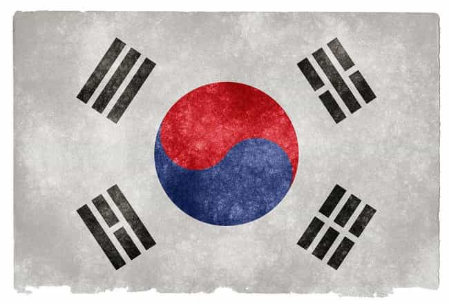 South Korea is listed (or ranked) 4 on the list The Coolest National Flags