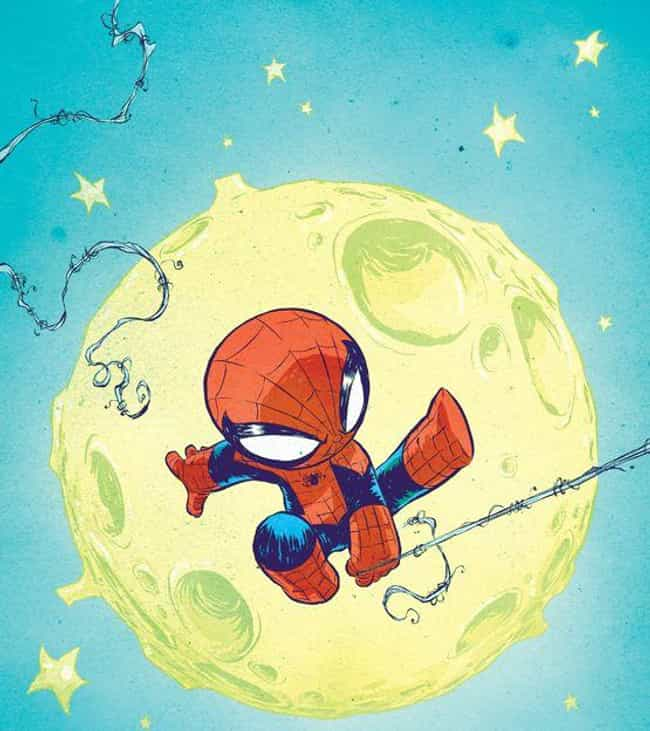 Spider-Man is listed (or ranked) 2 on the list Skottie Young Art That Perfectly Capture Your Favorite Marvel Heroes As Toddlers