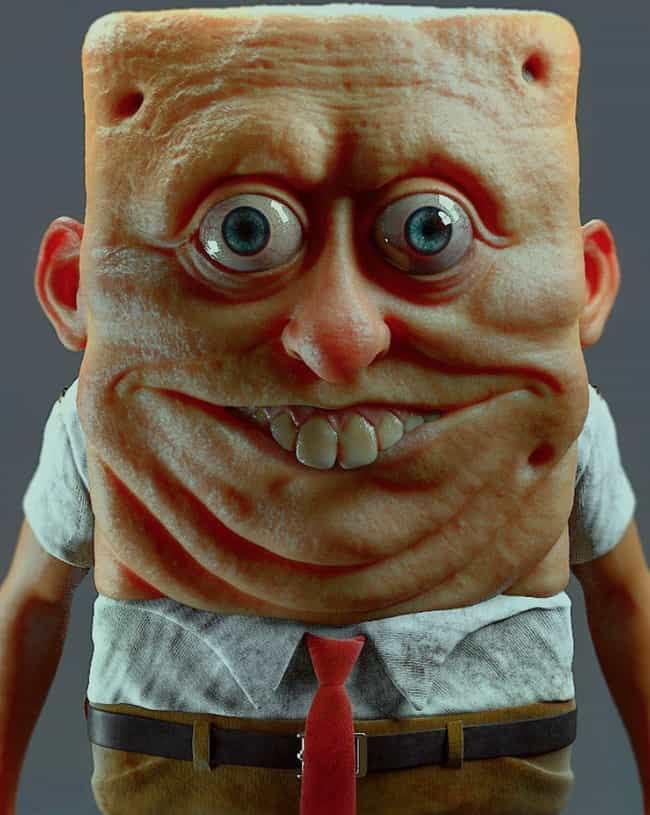 SpongeBob SquarePants is listed (or ranked) 1 on the list Miguel Vasquez Creates Realistic Depictions Of Your Favorite Cartoons And They're Upsettingly Good