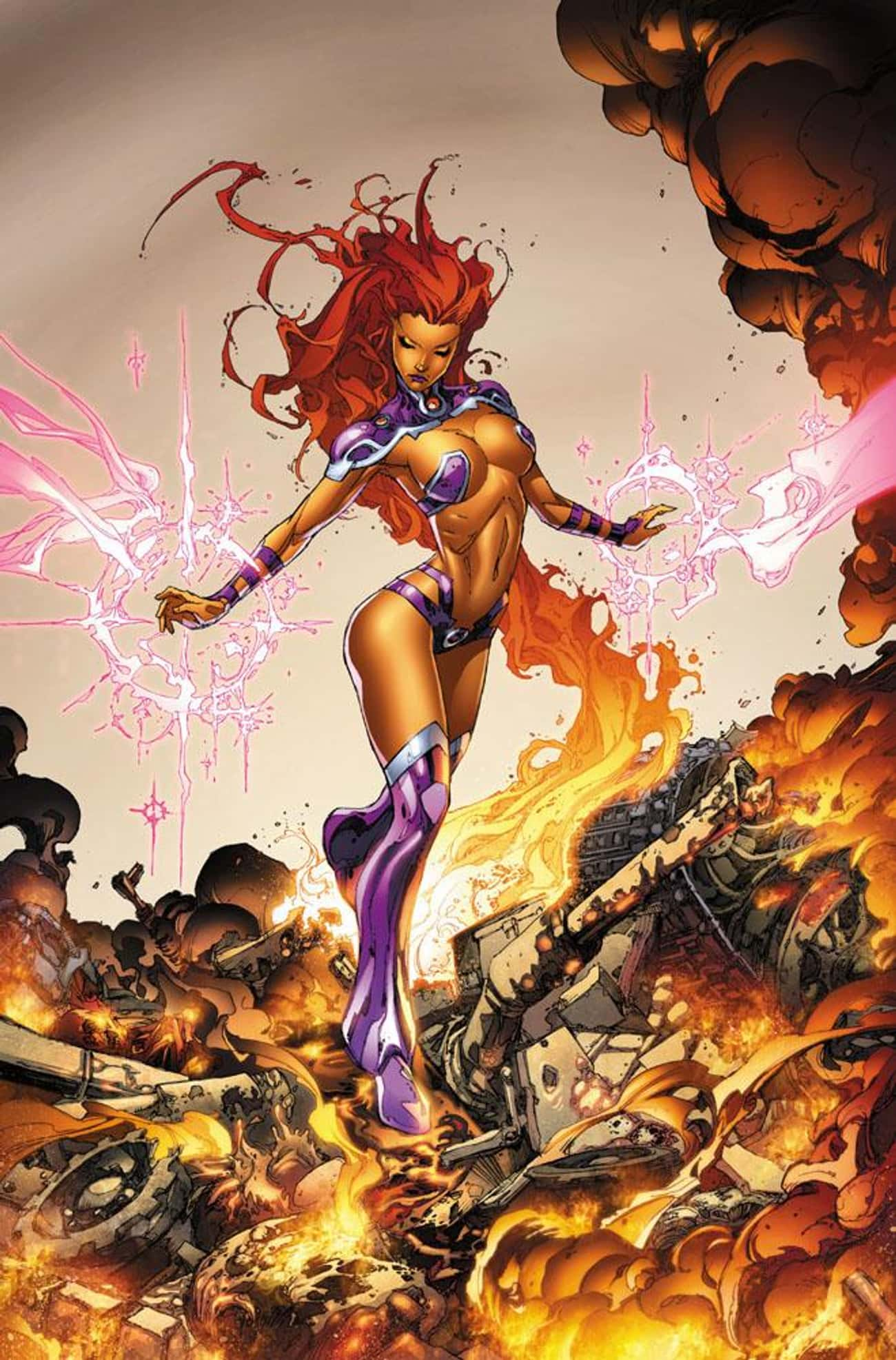 Starfire is listed (or ranked) 3 on the list The Most RevealingSuperheroine Costumes In Comics