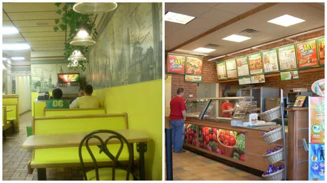 Subway is listed (or ranked) 1 on the list Look: Every Fast Food Restaurant Looked Better in the '90s