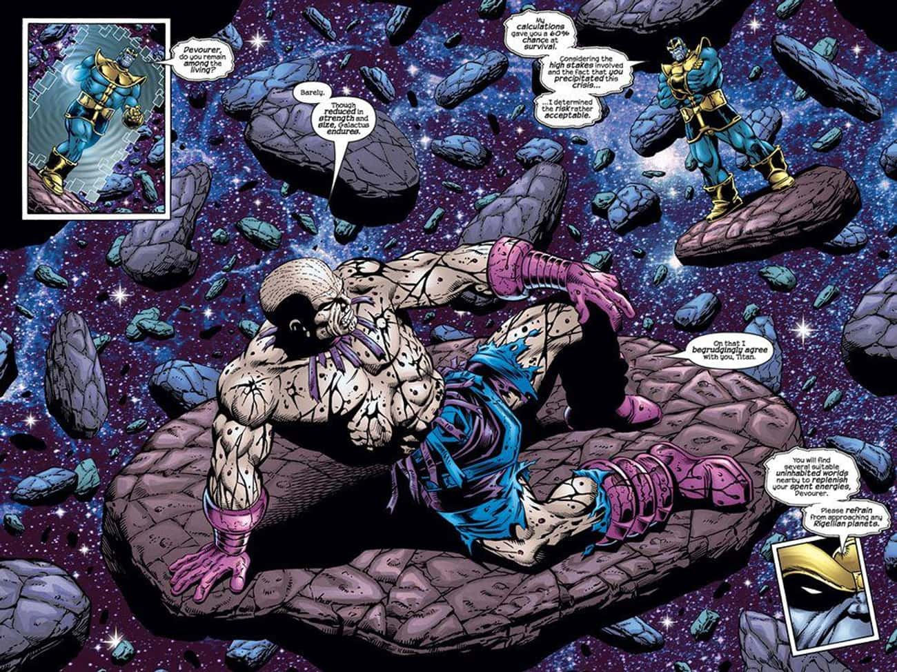 Thanos Crushed Galactus Between Colliding Worlds