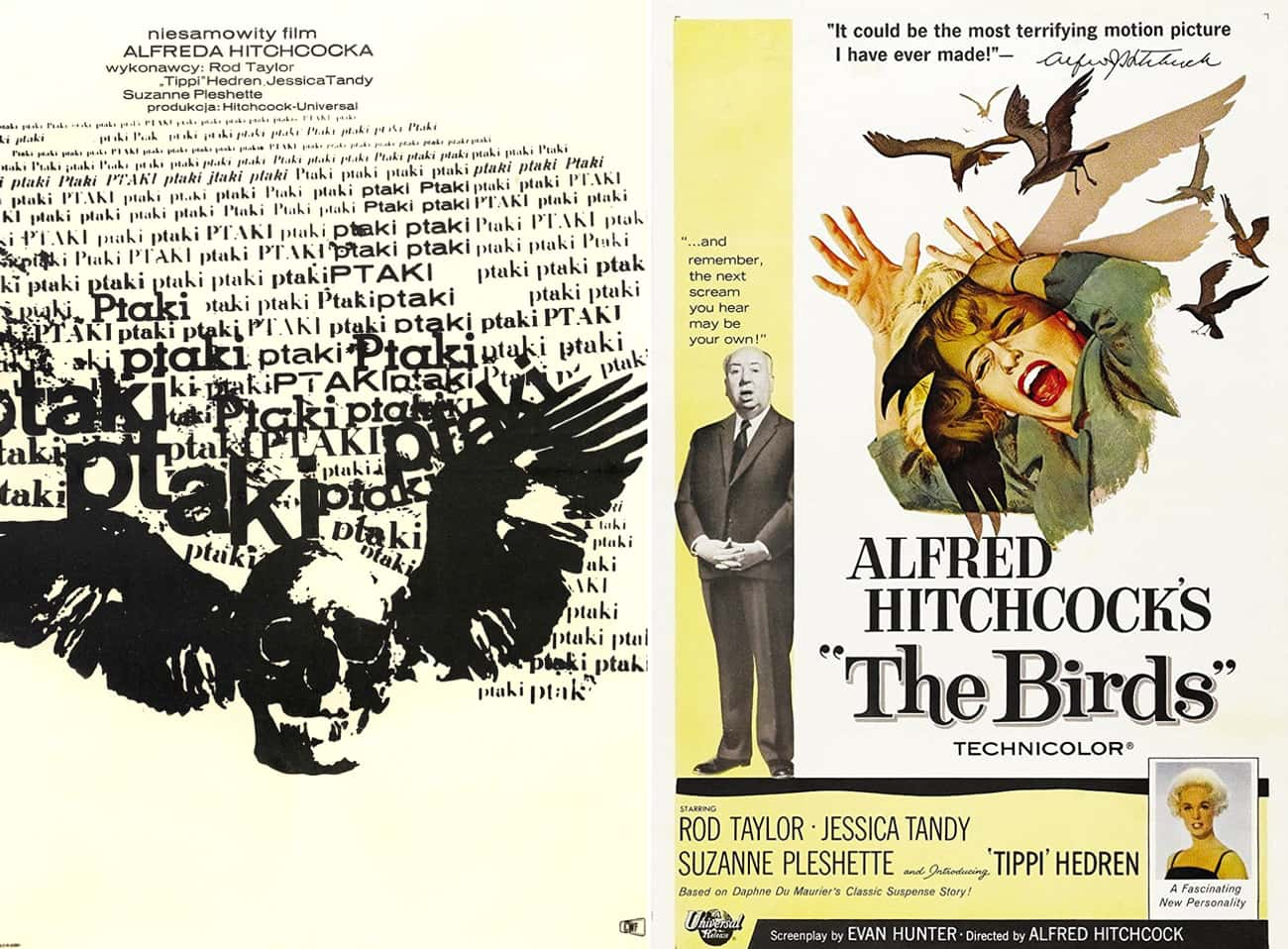 The Birds is listed (or ranked) 2 on the list Wonderfully Weird Polish Horror Movie Posters Vs. Their American Counterparts