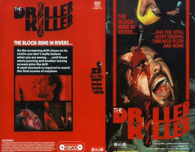 The Driller Killer is listed (or ranked) 2 on the list Relive The Brutally Grotesque '80s VHS Covers That Got The UK Government All In A Tizzy