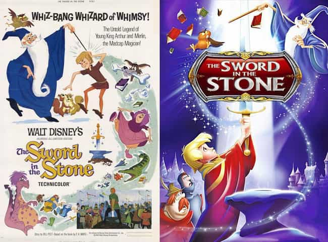 The Sword in the Stone is listed (or ranked) 8 on the list 20 Iconic Original Disney Posters VS. Today's Re-Release Covers