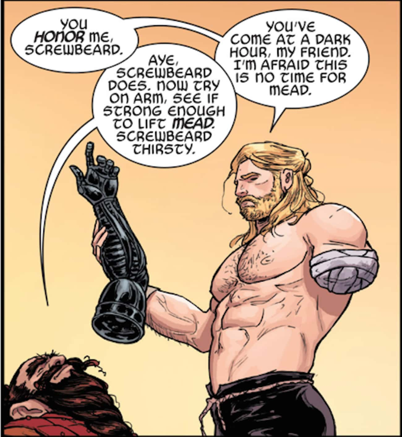 Thor is listed (or ranked) 3 on the list 15 Comic Book Characters Who Lost Limbs