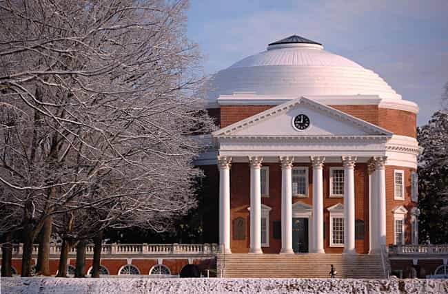 University of Virginia ... is listed (or ranked) 7 on the list The Most Beautiful College Campuses