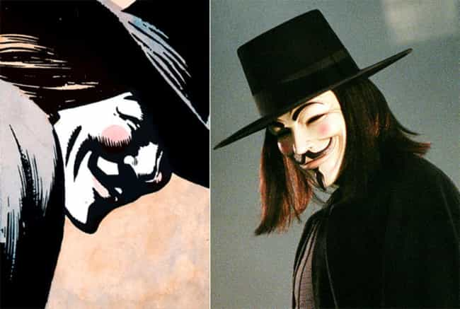 V for Vendetta is listed (or ranked) 2 on the list The Best DC Costume Adaptations Ever