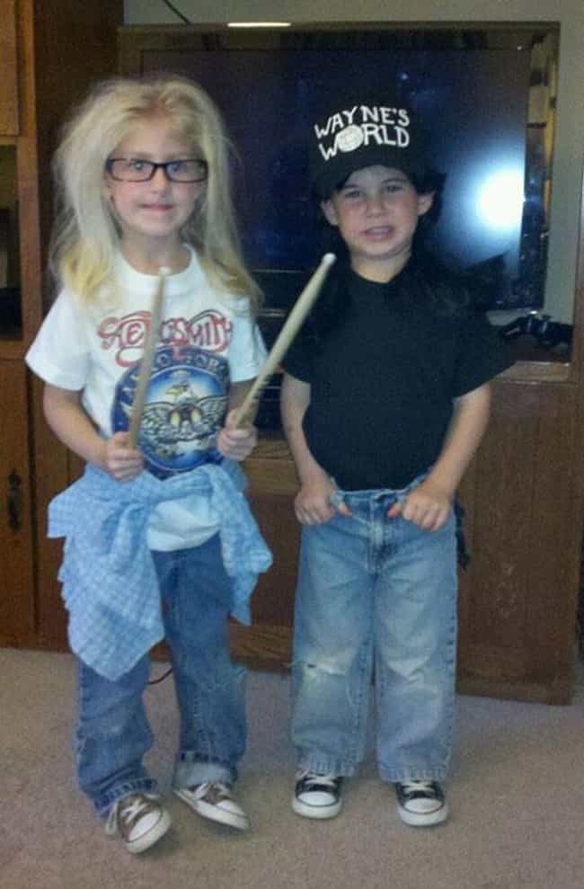 Wayne and Garth is listed (or ranked) 3 on the list 31 Kids Who Were Forced Into Amazing Halloween Costumes
