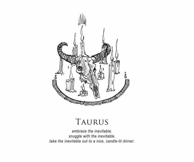 Taurus (April 20 - May 20) is listed (or ranked) 2 on the list Artist Amrit Brar Created Super Dark And Twisted Horoscopes For Each Zodiac Sign