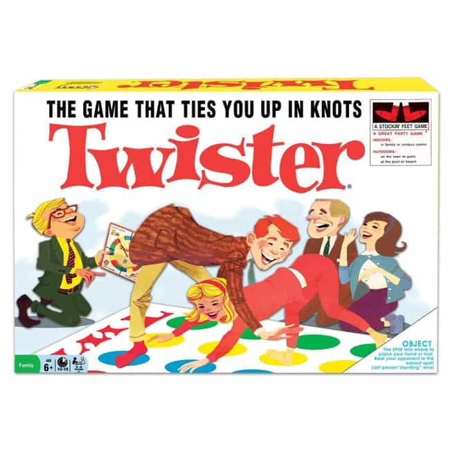 Twister is listed (or ranked) 3 on the list The Family-Friendly Milton Bradley Corporation Has A Bizarre History