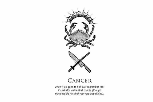 Cancer (June 21 - July 22) is listed (or ranked) 4 on the list Artist Amrit Brar Created Super Dark And Twisted Horoscopes For Each Zodiac Sign