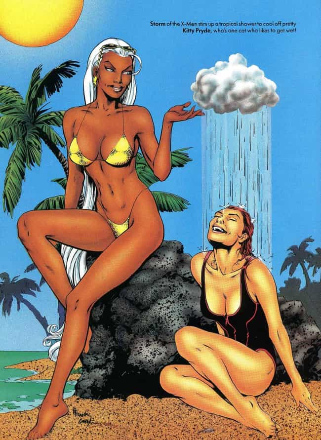 Storm is listed (or ranked) 4 on the list In The '90s, Marvel Made Its Own Version Of The 'Sports Illustrated' Swimsuit Edition
