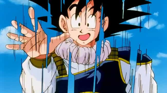 Goku is listed (or ranked) 3 on the list 15 Huge Characters Who Should Weigh A Lot More
