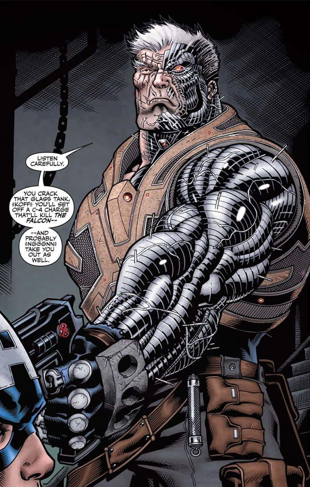 Cable is listed (or ranked) 2 on the list 15 Comic Book Characters Who Lost Limbs