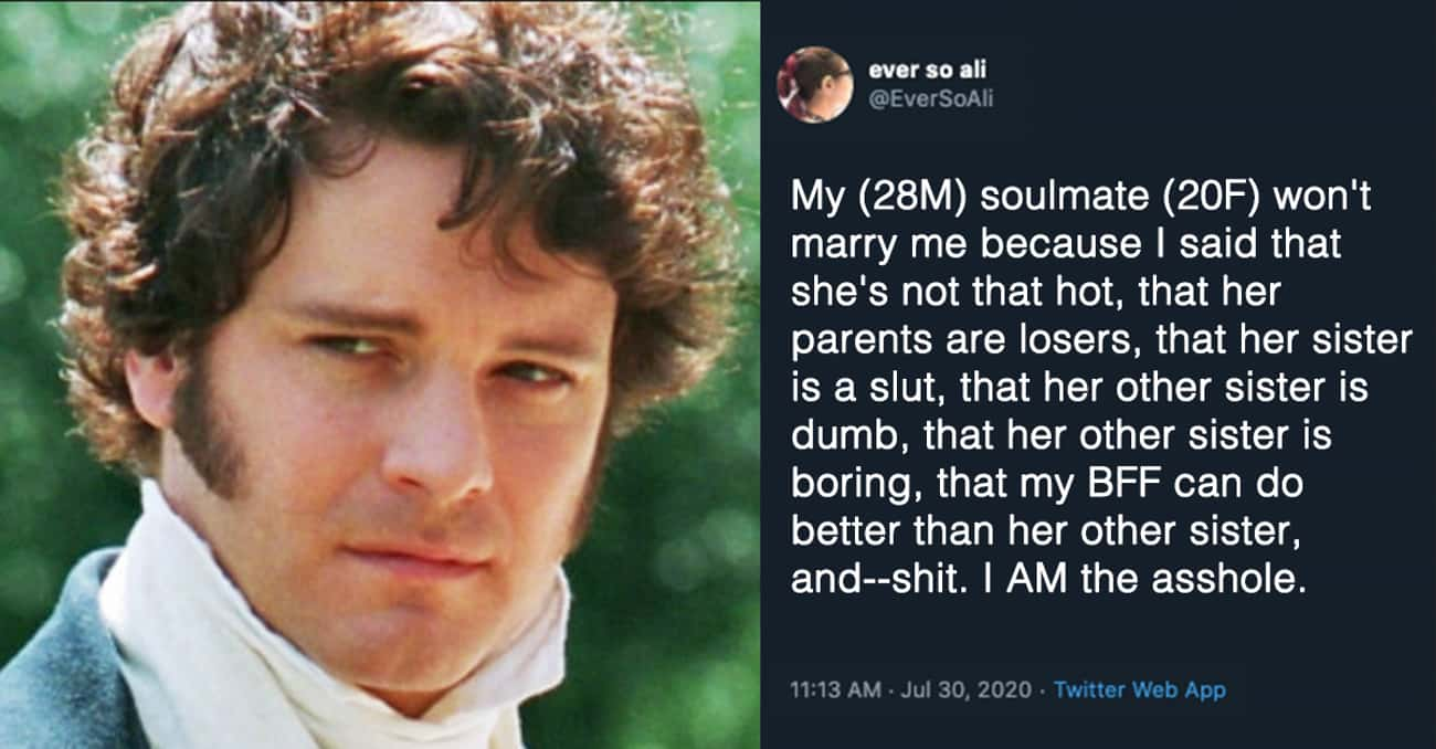 'Pride And Prejudice' is listed (or ranked) 3 on the list People On Twitter Are Turning Their Favorite Movies Into AITA Posts