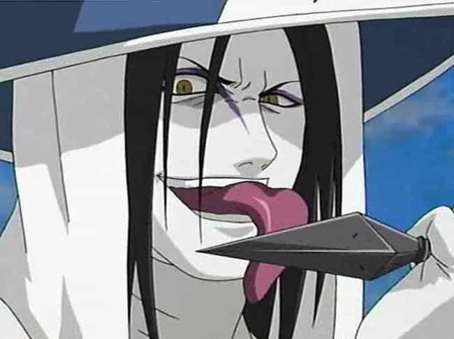 Orochimaru is listed (or ranked) 1 on the list 14 Anime Characters Who Should Probably Be In Prison For Life